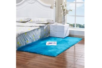 Super Soft Faux Sheepskin Fur Area Rugs Bedroom Floor Carpet Blue 45*45