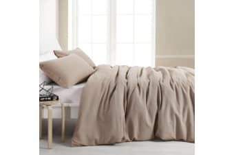 Dreamaker Amber Waffle Quilt Cover Set Queen Bed Latte