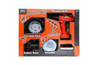 Power Tools Toy 4-Pack - Power Drill, Circular Saw, Saber Saw and Grinder