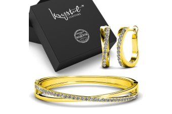 Boxed Lady Bangle And Earrings Set Gold Embellished with Swarovski crystals
