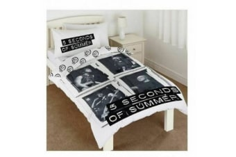 5 Seconds Of Summer Girls Framed Single Duvet Set (Black/White)