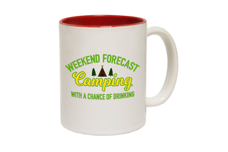 123T Funny Mugs - Weekend Forecast Camping - Red Coffee Cup