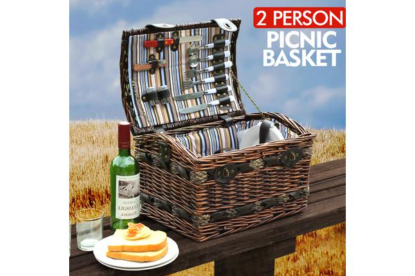 Wicker 2 Person Picnic Basket with Folding Handle BA2012