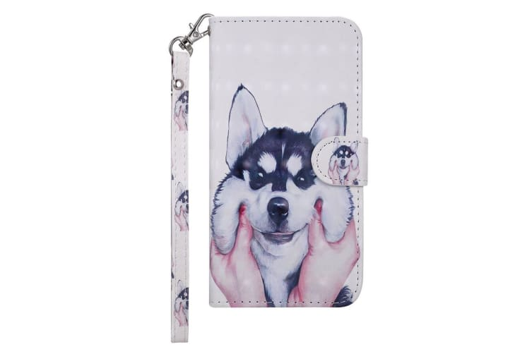For iPhone XS Max Cover Leather Card Slots Wallet Lanyard Phone Case Husky