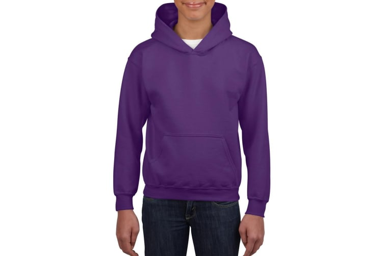 Gildan Heavy Blend Childrens Unisex Hooded Sweatshirt Top / Hoodie (Purple) (XS)