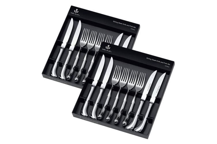 Wilkie Brothers 16pc Stainless Steel Steak Knife Fork Cutlery Kitchen Dining Set