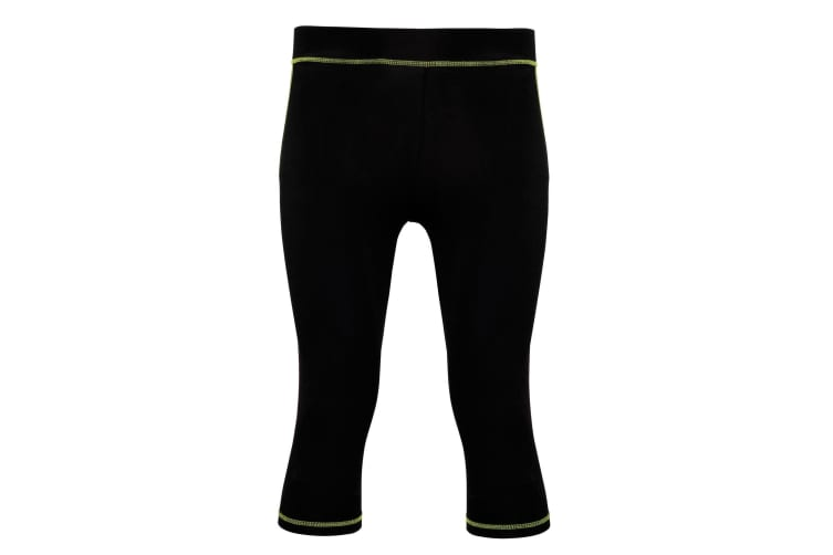 Tri Dri Womens/Ladies Calf Length Fitness Leggings (Black/ Lightning Green) (M)