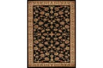 Traditional Floral Pattern Rug Black