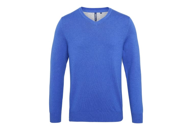 Asquith & Fox Mens Cotton Rich V-Neck Sweater (Royal Heather) (S)