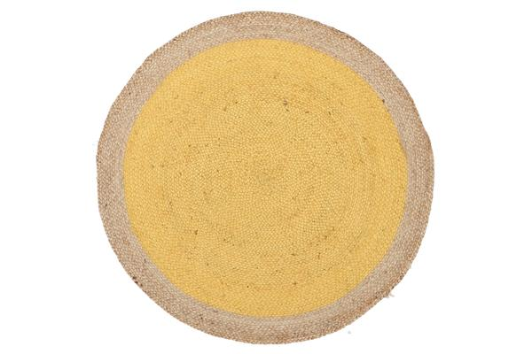 Round Jute Natural Rug Yellow 200x200cm
