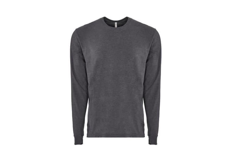 Next Level Adults Unisex Suede Feel Long Sleeve Crew T-Shirt (Heather Metal) (M)