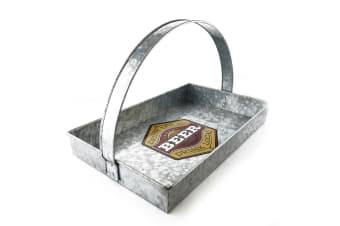 ThirstyStone 39cm Rectangular Beer Galvanized Serving Tray Carrier with Handle