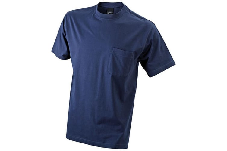 James and Nicholson Mens Round Neck Pocket Tee (Navy) (L)