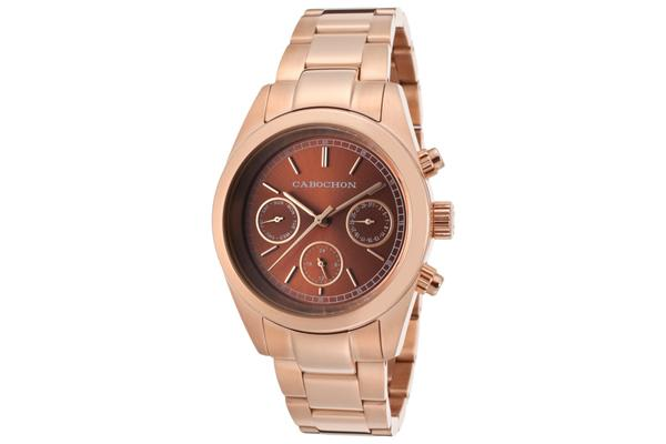 Cabochon Women's De Ce Monde Multi-Function Brown Dial Rose Gold Tone Ion Plated Stainless Steel (CABOCHON-1120)