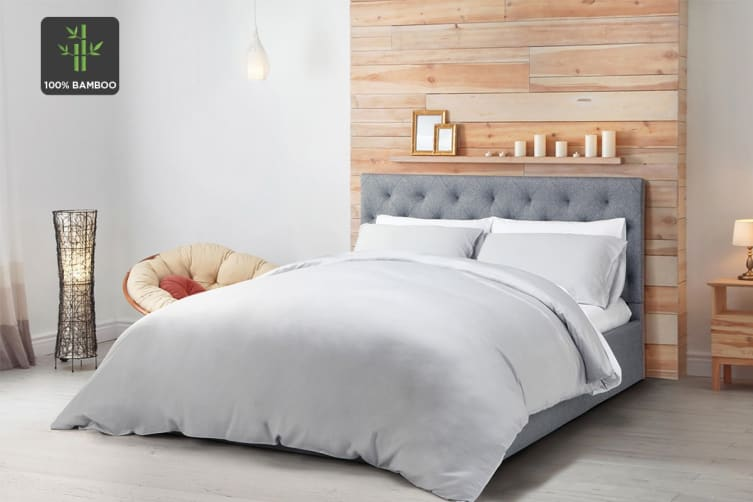 Ovela 100% Bamboo Quilt Cover Set (Queen, Pale Grey)