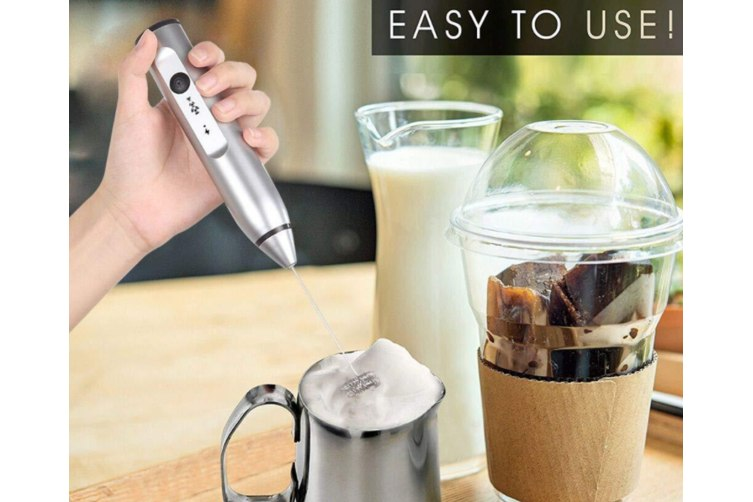 【USB 3 SPEEDS MILK FROTHER】Rechargeable Electric Milk Frother, Handheld Foam Maker For Coffee, Latte, Cappuccino, Hot Chocolate, Drink Mixer-BLACK
