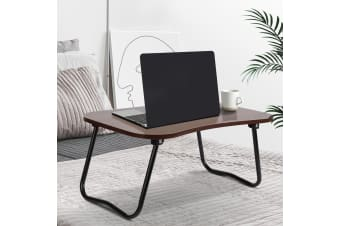 Portable Bed Tray Table Foldable Laptop Desk Stand Over Bed Lap Tables Breakfast Dinner Food Tea Serving Study PC iPad Computer Desks Wooden Dark Wood