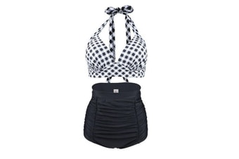 Retro Pink Black Plaid Print High Waist Two-piece Bikini Swimsuits
