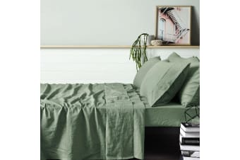 100% Linen Sage Sheet Set SINGLE