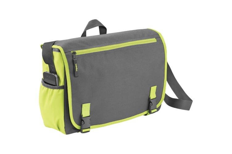 Bullet Punch 15.6in Laptop Shoulder Bag (Pack of 2) (Grey/Green) (One Size)