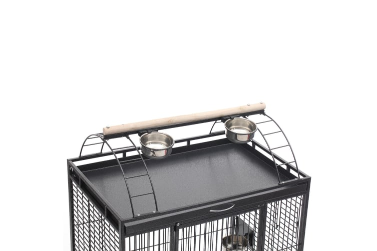 Large Wrought Iron Rolling Bird Cage for Medium to Large Size Parrots-Gray