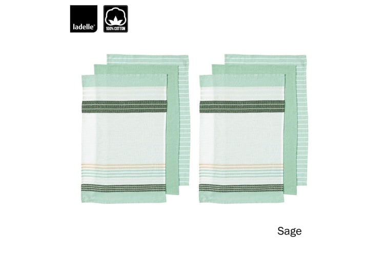 Set of 6 Dwell Stripe Cotton Tea Towels Sage by Ladelle