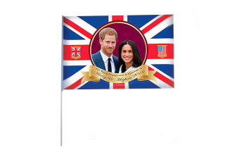 Royal Wedding 2018 Prince Harry And Meghan Flag With Stick (Red/White/Blue) (One Size)