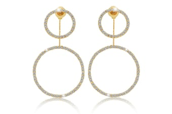 Sparkling Round Earrings-Gold/Clear