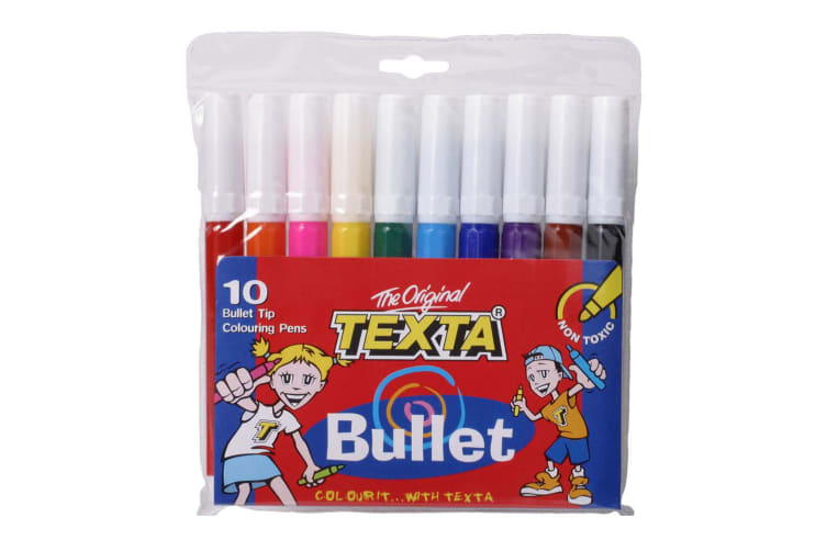 10pc Texta Bullet Tip Colouring Pens Drawing Art Marker Water Based Pen f/ Kids