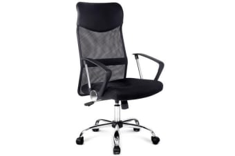 PU Leather Mesh High Back Office Chair (Black)
