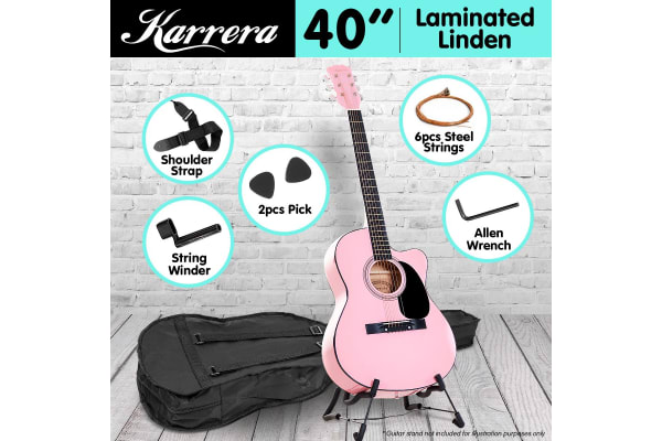 Karrera Acoustic Cutaway 40in Guitar - Pink