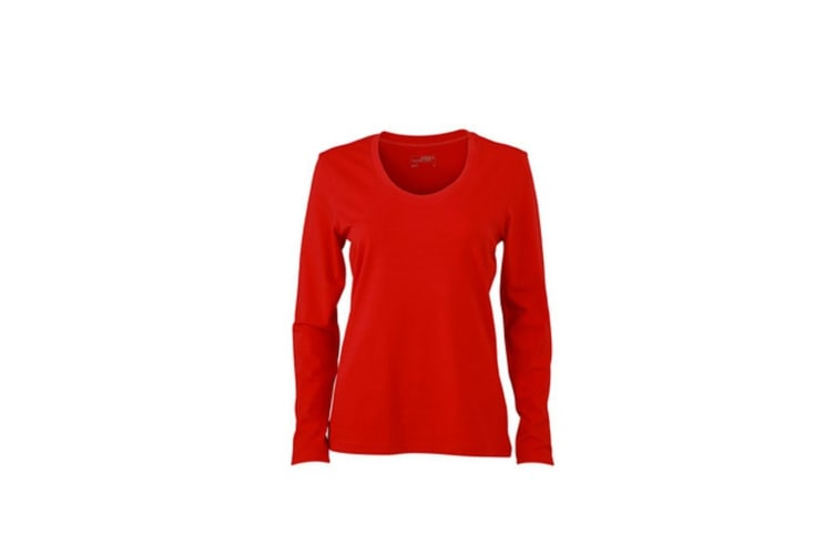 James and Nicholson Womens/Ladies Stretch Long Sleeve T-Shirt (Red) (M)