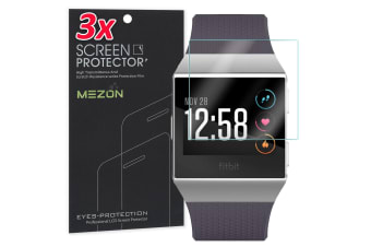 [3 Pack] Fitbit Ionic Ultra Clear Screen Protector TPU Film for Fitness Tracker by MEZON – High Protection, Shock Absorption (Ionic, Clear)