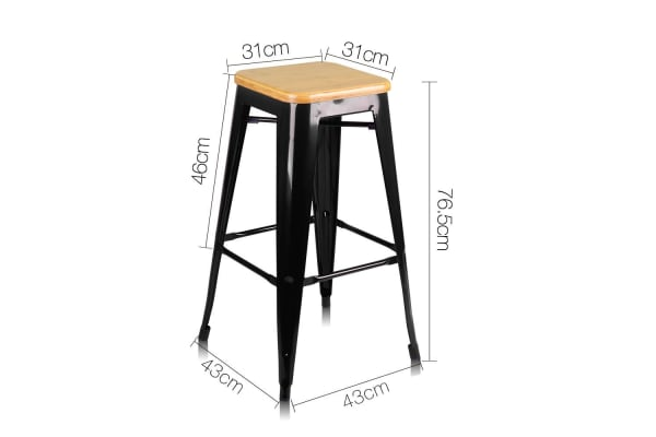 Set of 2 Steel Kitchen Bar Stools Bamboo Seat 76cm (Black)