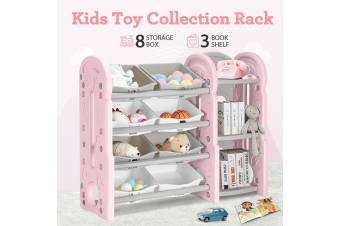 Kids Plaything Toy Rack Bookshelf Storage - Pink