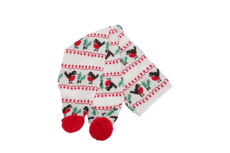 FLOSO Womens/Ladies Christmas Robin Winter Hat  Scarf & Mittens Set (White/Red/Green/Brown) (One Size)