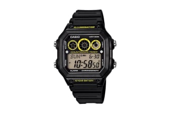 Casio G-Shock Digital Sports Vintage Watch with Resin Band - Yellow/Black (AE1300WH-1A)