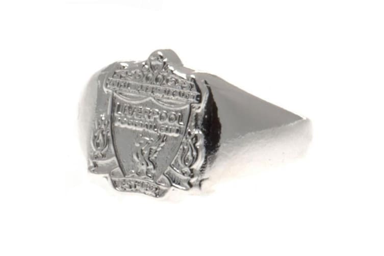 Liverpool FC Silver Plated Medium Crest Ring (Silver) (One Size)