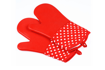 Extra Long Quilted Cotton Lining Heat Resistant Silicone Oven Mitts Red
