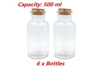 6 x Clear 500ml Glass Multi-purpose Storage Bottle Jar with Natural Cork Lid