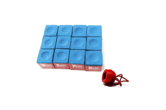 12 x Cubes Master Billiard Snooker Pool Chalk & Chalk Holder Set Blue