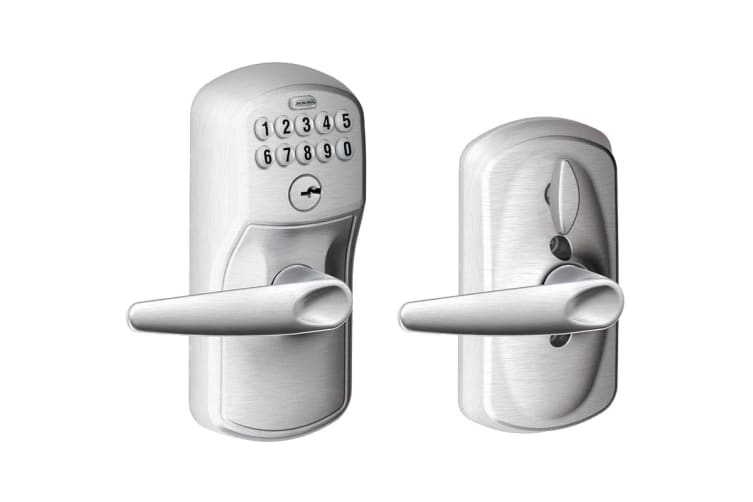 Schlage Keypad Lever with Plymouth Trim and Jazz Lever with Flex Lock (Satin Chrome)
