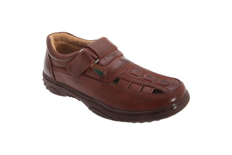 Scimitar Mens Touch Fastening Toe Sandal Shoes (Brown) (8 UK)