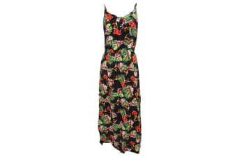 Womens/Ladies Tropical Jungle Print Strappy Maxi Summer Dress (Black/Tropical Print) (Large)