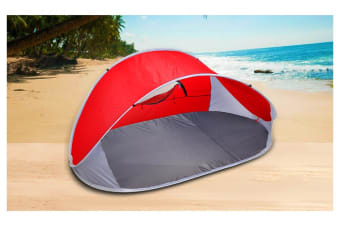 4 Person Pop Up Camping Tent Beach Shelter Hiking Sun Shades Shelter Fishing Red