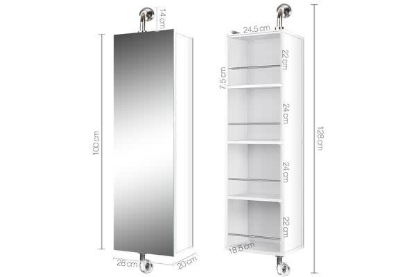 2 in 1 Mirror Storage Cabinet (White)