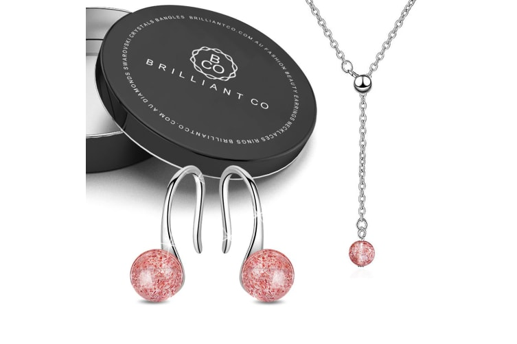 Boxed Pink Glass Crystal Candy Necklace and Earrings Set