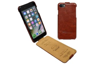 For iPhone 8 7 Case Fashion Stylish Vertical Flip Protective Leather Cover Brown