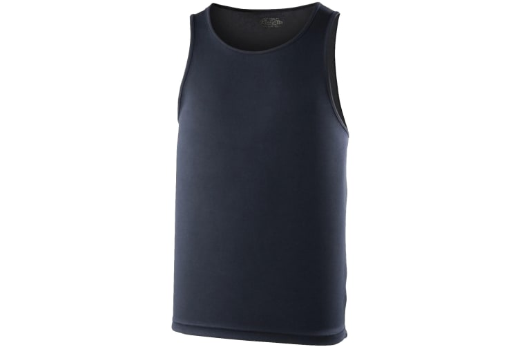 Just Cool Mens Sports Gym Plain Tank / Vest Top (French Navy) (L)