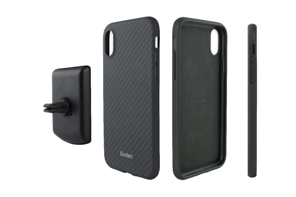 Evutec iPhone XR Karbon Case with BONUS AFIX+ Magnetic Car Mount - Karbon